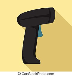 Parcel barcode scanner icon, flat style