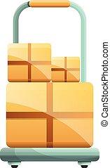 Parcel box cart icon, cartoon style