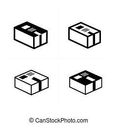 parcel box icons set