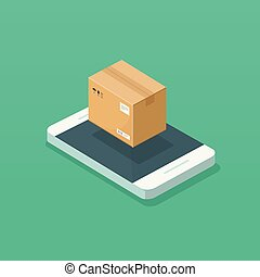 Parcel box on mobile phone vector illustration, flat cartoon smartphone with package cargo cardboard box, concept of online order delivery tracking on cellphone, digital shipping track isometric
