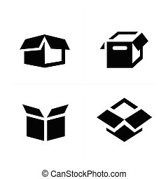 parcel box, open box icons