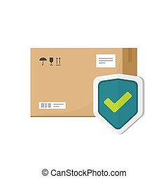 Parcel box protected with shield vector symbol, flat cartoon package icon with insurance or guarantee check isolated clipart image