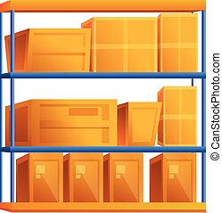 Parcel box rack icon, cartoon style