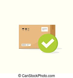Parcel box with checkmark sign vector icon, flat cartoon parcel with tick, concept of approved or accepted delivery package, shipped or confirmed service clipart