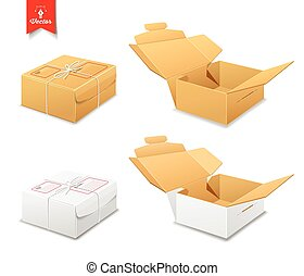 Parcel boxes brown and white box