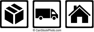Parcel carrier icons. Parcel, van and house.