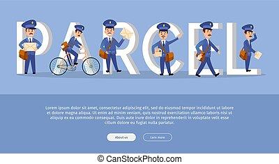 Parcel Conceptual Web Banner with Cartoon Postman