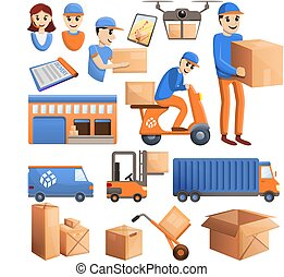 Parcel delivery icons set, cartoon style