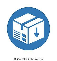 Parcel icon, box, carton, package design, round blue