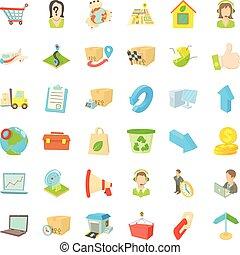 Parcel icons set, cartoon style