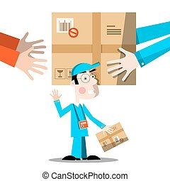 parcel., illustration., serviço, pacote, isolado, entrega, experiência., mensageiro, mãos, branca, homem