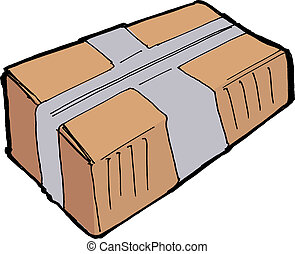 Parcel - Closed carton parcel on the white background