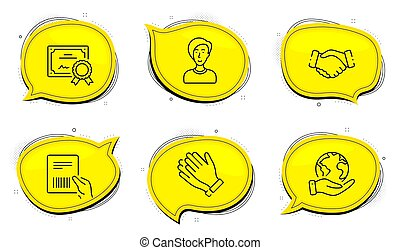 Parcel invoice, Businesswoman person and Clapping hands icons set. Handshake sign. Vector