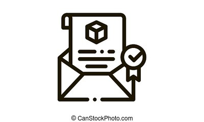 parcel notification letter Icon Animation. black parcel notification letter animated icon on white background