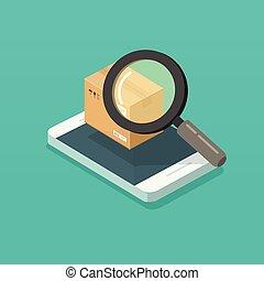 Parcel or order tracking via smartphone vector illustration,...