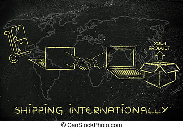 parcel ordered online and shipped across the globe with text Shipping Internationally