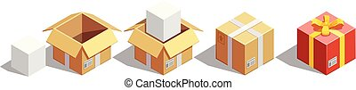 Parcel Packaging Isometric Set - Delivery isometric...