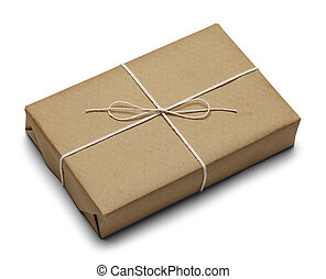 Parcel - Tied Brown Paper Package With Rope Isolated on...