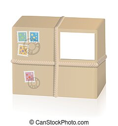 Parcel tied with a cord, with four post stamps and a white...