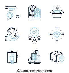 Parcel tracking, Elevator and Skyscraper buildings icons set...