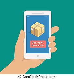 Parcel tracking. Hand holding smartphone with cardboard ...