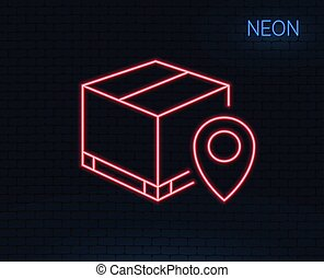 Parcel tracking line icon. Delivery monitoring. - Neon light...