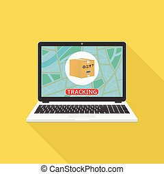 Parcel tracking website on laptop screen. Online package ...