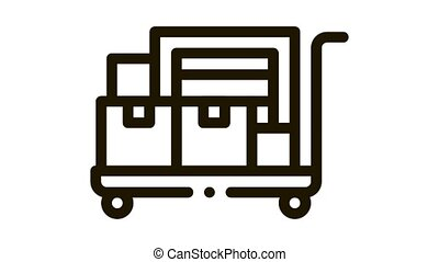 parcel trolley Icon Animation. black parcel trolley animated icon on white background