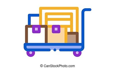 parcel trolley Icon Animation. color parcel trolley animated icon on white background