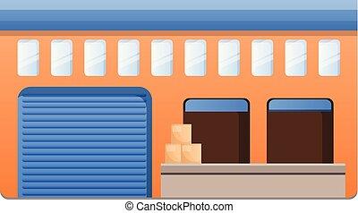Parcel warehouse icon, cartoon style