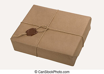 parcel with a rope and wax