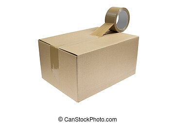 Parcel with duct tape - A parcel with a roll of duct tape ...