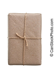 parcel wrapped with brown kraft paper isolated on white ...
