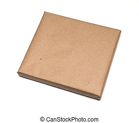 Parcel wrapped with brown kraft paper