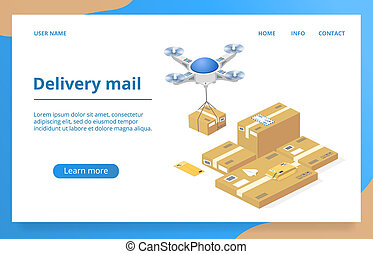 Parcels delivery with drone vector technology
