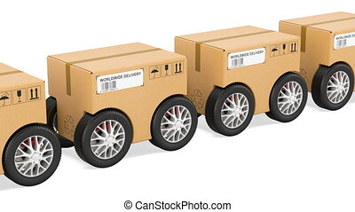 Parcels with wheels, fast delivery concept, animation. 3D rendering isolated on white background