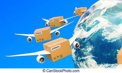 Parcels with wings flying in the sky around Earth globe....