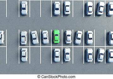 parcheggio, aereo, lotto, vista