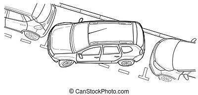parcheggio, automobile, vettore, linea, illustration.