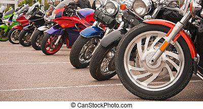 parcheggio, motociclette, fila
