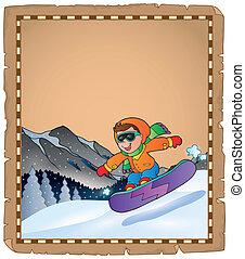 parchemin, à, sport hiver, thème, 3