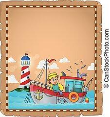 parchemin, bateau, peche