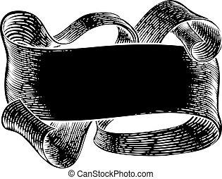 parchemin, rouleau, vendange, bannière, papier, woodcut