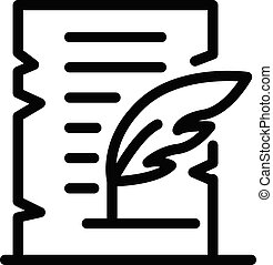 Parchment and feather icon, outline style - Parchment and ...