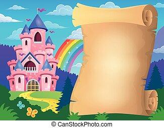 Parchment and pink castle - eps10 vector illustration.