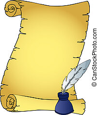 Parchment and quill with inkpot - vector illustration.