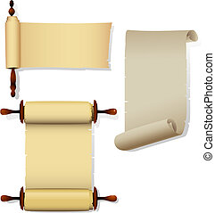 Detailed parchment banners with rolls. Only linear and radial gradients used. All elements separated on layers. Eps 8.