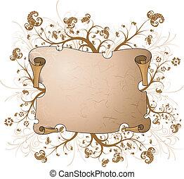 Parchment - Floral parchment, element for design with copy ...