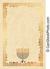 parchment frame with Menorah - Vector parchment frame with...