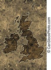 Parchment great britain map